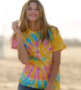 Colortone Rainbow Tie Dye Top de Manga Corta Camiseta de la Mujer
