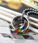 Flongo Collar con Colgante de Anillos Aros de Arco Iris El Orgullo LGTB Feliz Orgullo Collar de Acero Inoxidable Colgante de Colores para Hombre/Mujer/Unisex