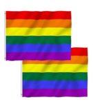 Pack de 2 banderas del orgullo gay Aboat, arco iris, 150 x 90 cm