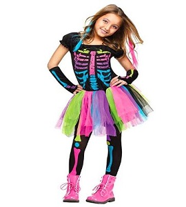 Disfraz de Halloween para niños Niñas Funky Punky Bones Disfraz Niño Esqueleto Rocker Cosplay Tutu Vestido Disfraz Disfraz, L