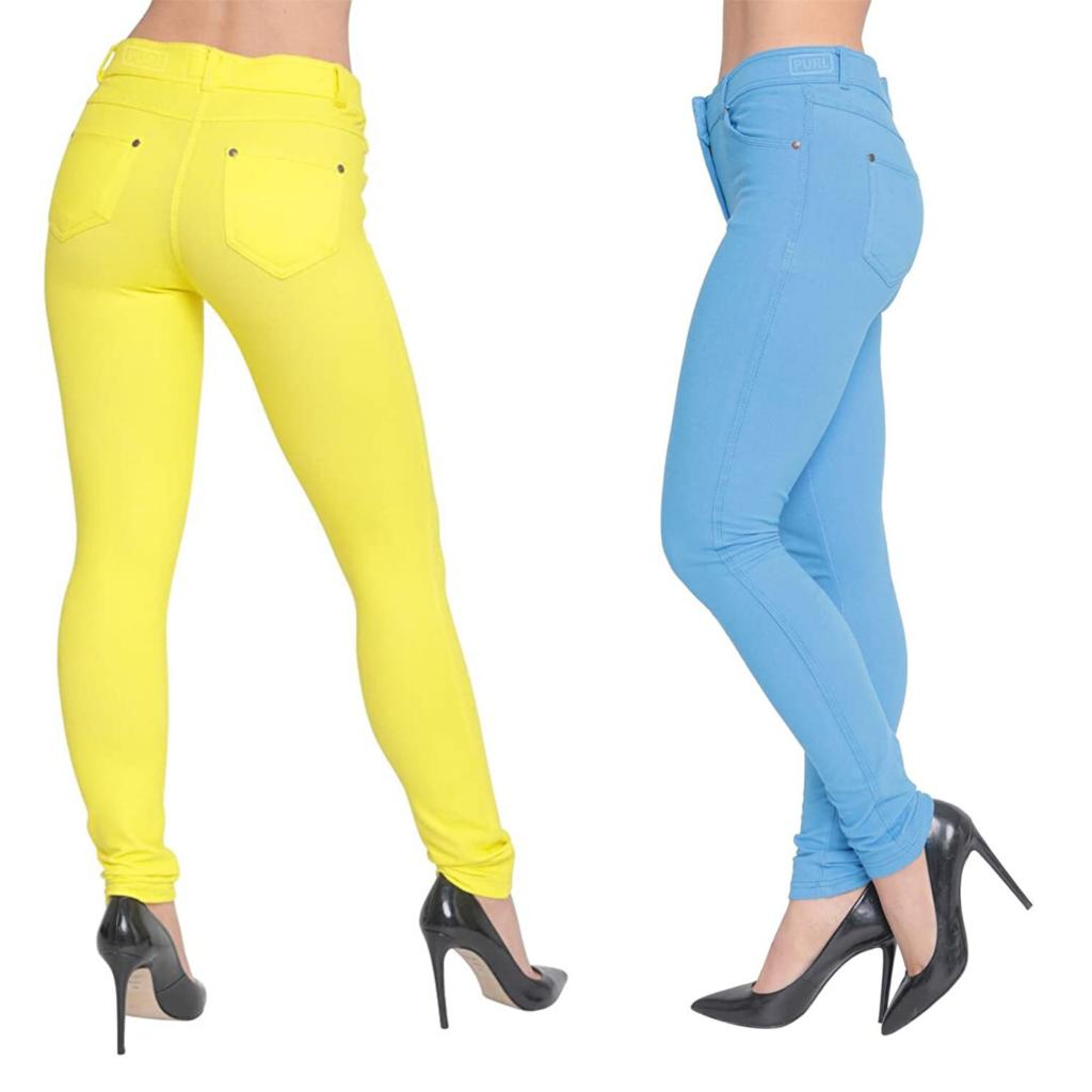 US Patrol Pantalones vaqueros elásticos de colores para mujer, de cintura alta, para mujer. Vaqueros amarillos y azules