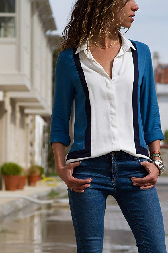 Tendencias Moda Primavera Verano 2020. Aleumdr Mujer Blusa Cuello En V Camiseta de Mangas Largas Camisa con Botones Size S-XXL