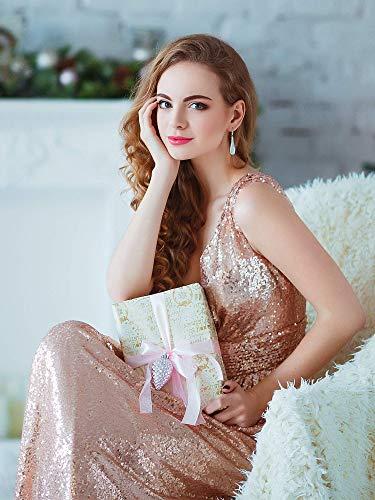 Tendencias Moda Primavera Verano 2020 para mujer. Ever-Pretty Vestido de Fiesta Noche Largo Lentejuelas para Mujer Cuello en V Corte Imperio