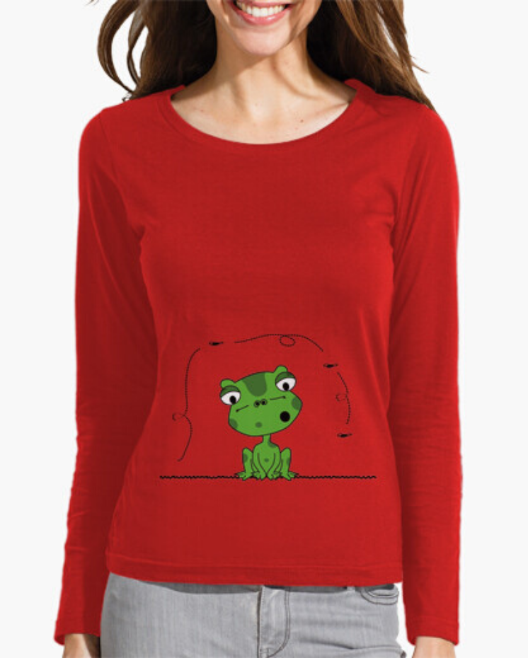 Camisetas el Padre Guisante la Tostadora Colores del Arcoíris. Camiseta Clásica manga larga. Camiseta Roja model Rana y Mosca, Frog and The Fly