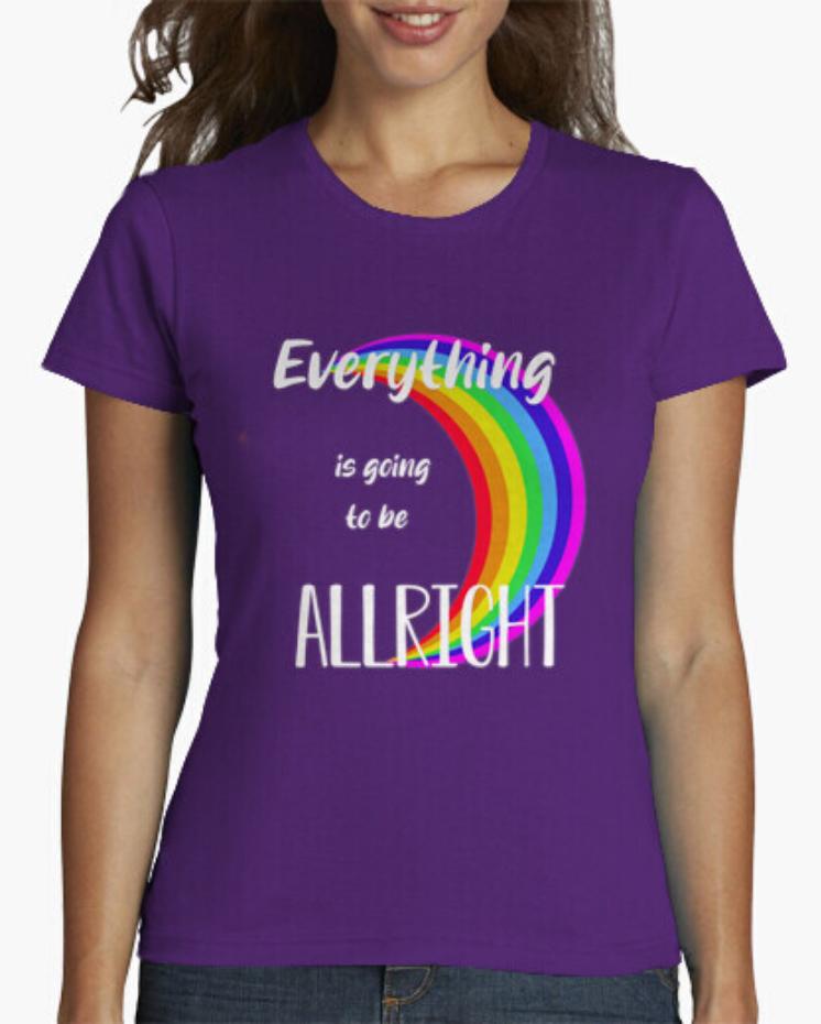 Camisetas El Padre Guisante la Tostadora Colores del Arcoíris. Camiseta Clásica color Morado Todo Saldrá Bien. Lema Everything is going to be Allright
