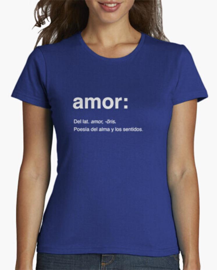 Camisetas el Padre Guisante la Tostadora Colores del Arcoíris. Camiseta Clásica. Camiseta Mujer color Azul. Camiseta Lema Amor