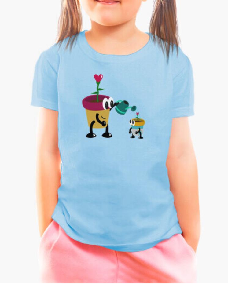 Camisetas el Padre Guisante la Tostadora en colores del Arcoíris. Camisetas Infantiles. Camiseta Niña color Azul. Camiseta el Padre Guisante colección Padres e Hijos