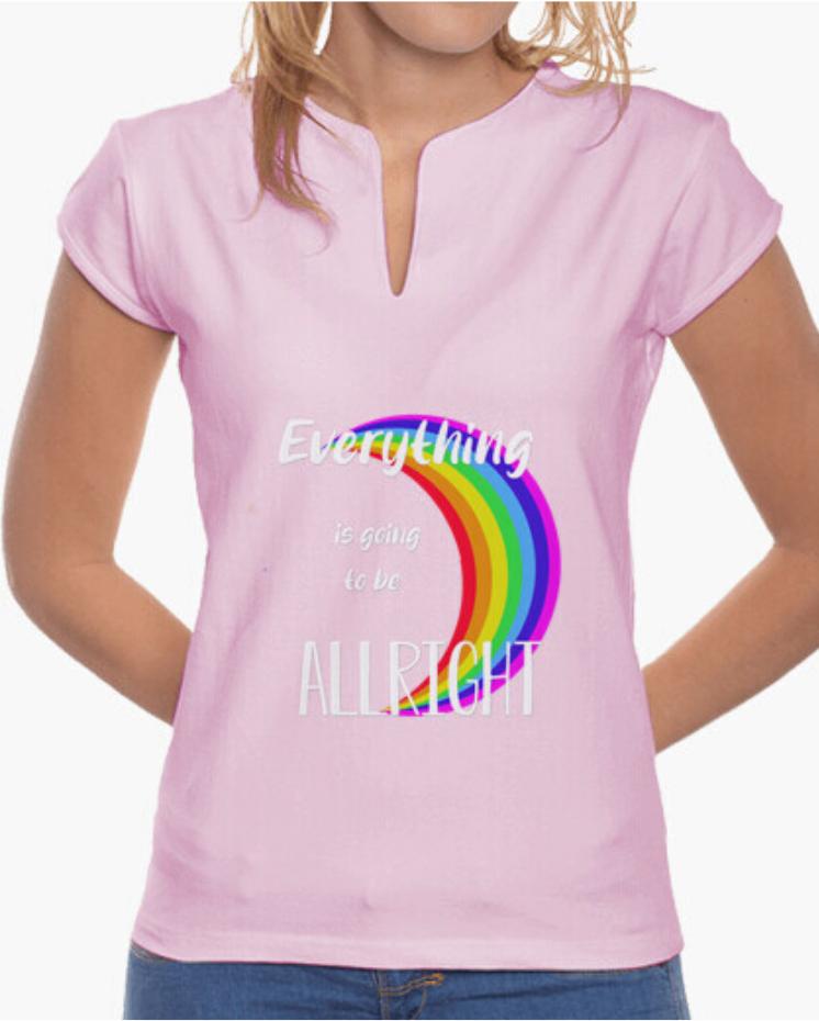 Camiseta el padre guisante colores del arcoiris. Camiseta cuello mao color rosa manga corta
