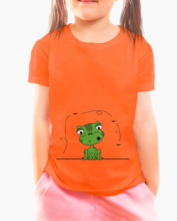 Camisetas el Padre Guisante la Tostadora Colores del Arcoíris. Camiseta Clásica Niña Niño color naranja. Rana y Mosca Frog and The Fly