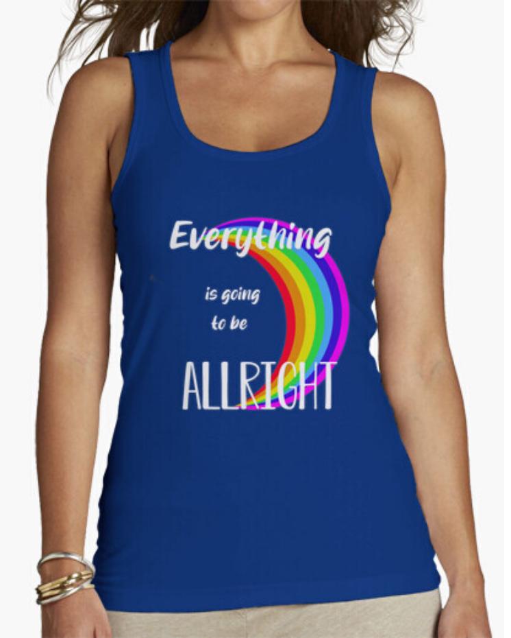Camiseta El Padre Guisante la Tostadora Colores del Arcoíris. Camiseta Tirantes Rainbow Color Azul.