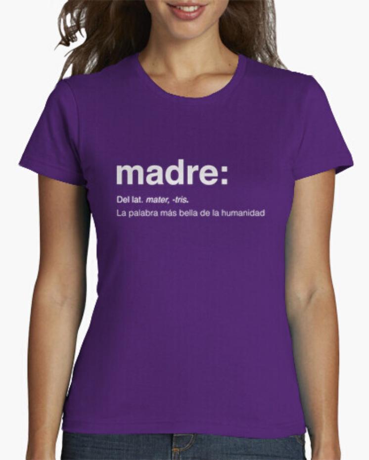 Camisetas el Padre Guisante la Tostadora Colores del Arcoíris. Camiseta Clásica. Camiseta Mujer color morado. Camiseta Lema Madre