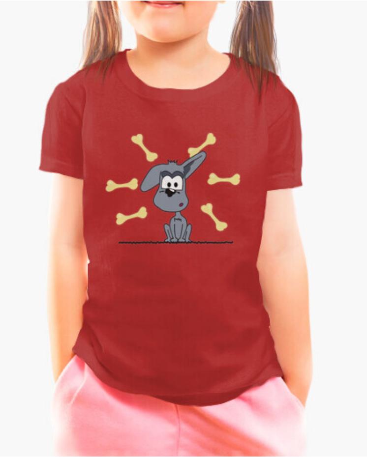 Camisetas el Padre Guisante la Tostadora en Colores del Arcoíris. Camiseta Infantil roja. Camiseta colección perrito con hambre Padre Guisante