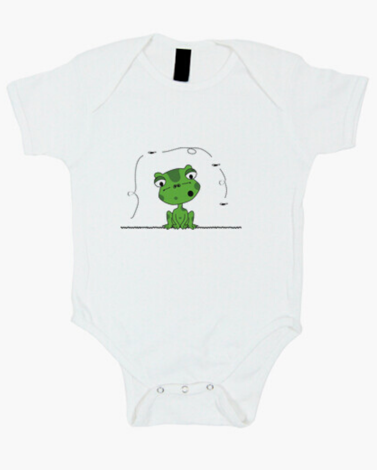 Camisetas el Padre Guisante la Tostadora Colores del Arcoíris. Body para bebé Blanco Rana y Mosca Froggy and The Fly