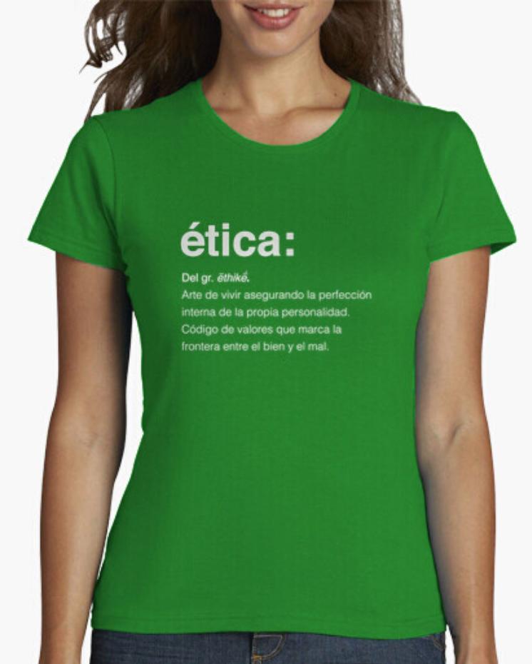 Camisetas el Padre Guisante la Tostadora Colores del Arcoíris. Camiseta Clásica. Camiseta Mujer color Verde. Camisetas con lema ètica