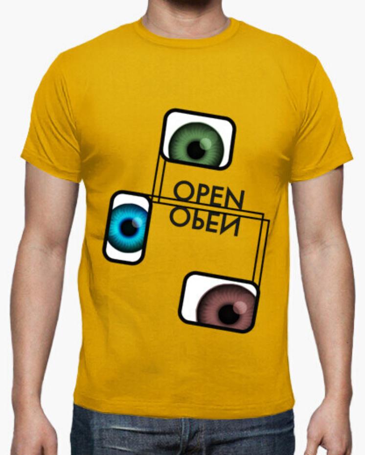 Camisetas el Padre Guisante la Tostadora Colores del Arcoíris. Camiseta T-Shirt Clásica Hombre. Camiseta color amarillo. Camiseta colección Ojos Abiertos