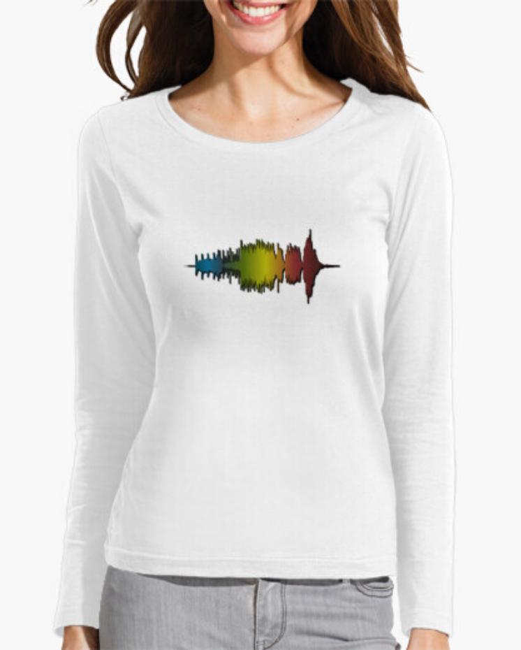 Camisetas el Padre Guisante la Tostadora Colores del Arcoíris. Camiseta Clásica. Camiseta Manga Larga. Camiseta Mujer Blanca. Camiseta Wave