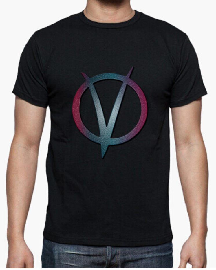 Camisetas el Padre Guisante la Tostadora Colores del Arcoíris. Camiseta Clásica Hombre. Camiseta color Negro. Camiseta V de Vendeta