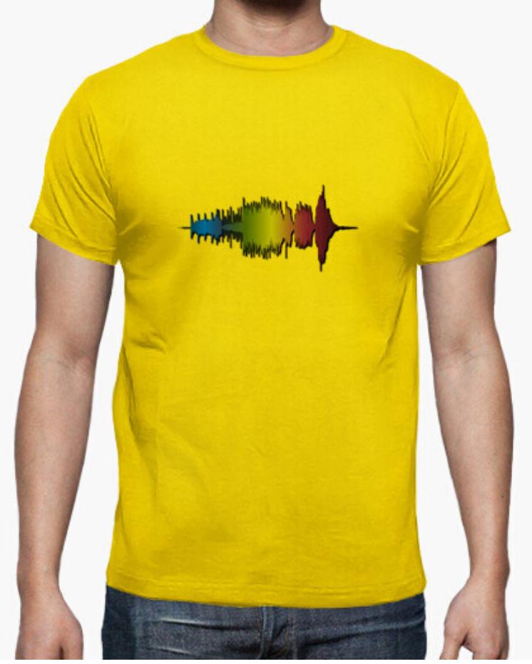 Camisetas el Padre Guisante la Tostadora Colores del Arcoíris. Camiseta clásica hombre. Camiseta Color Amarillo. Camiseta colección Wave