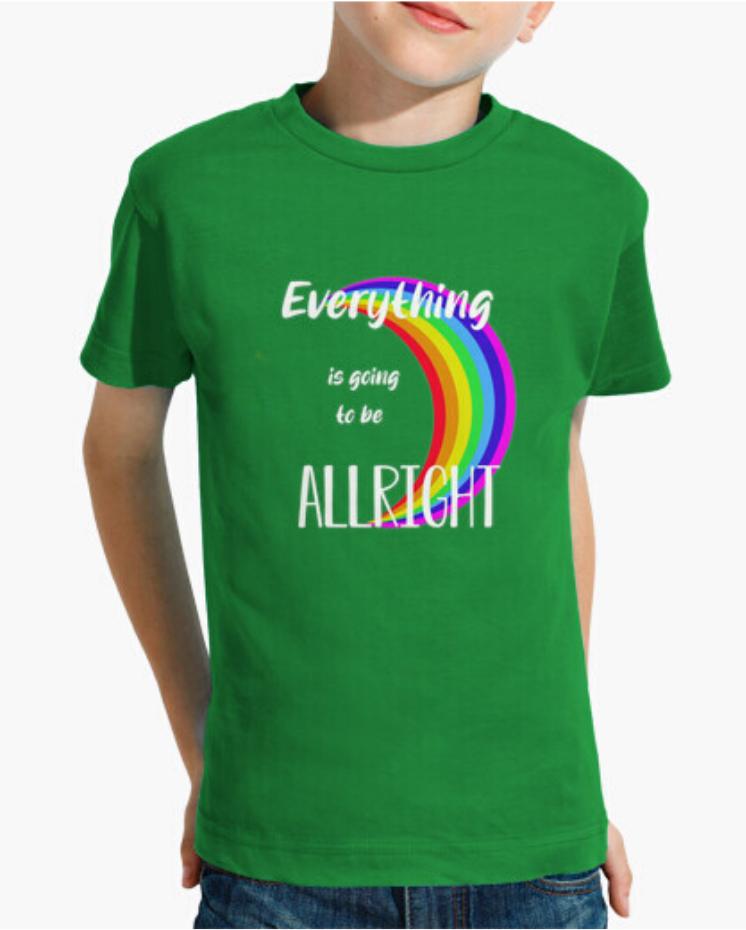 Camisetas T-Shirt el Padre Guisante Colores del Arcoíris. Camista niño niña color verde
