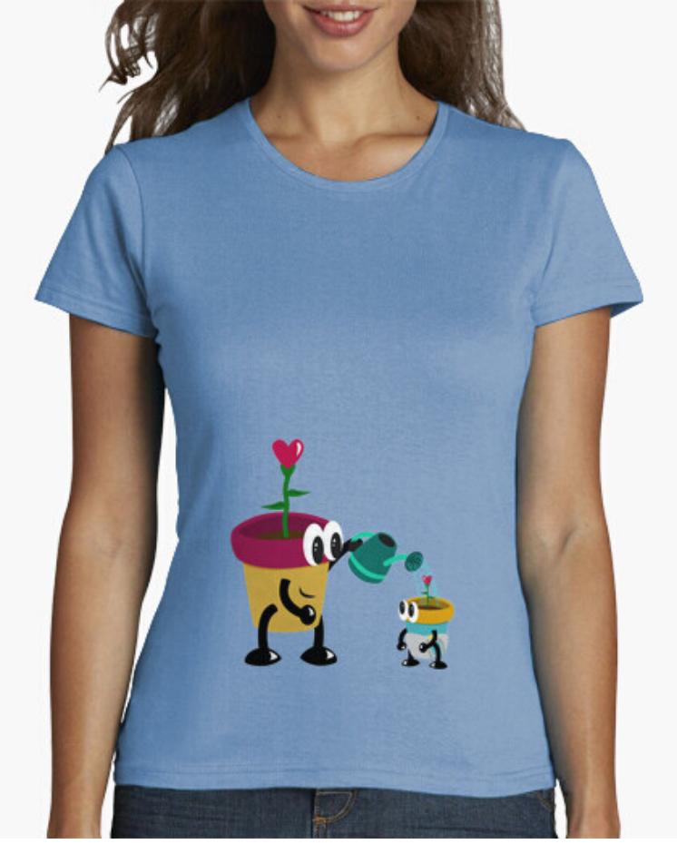 Camisetas el Padre Guisante la Tostadora Colores del Arcoíris. Camiseta Clásica Mujer. Camiseta Azul. T-Shirt. Camiseta colección padres e hijos. Camisetas Flores y regadora