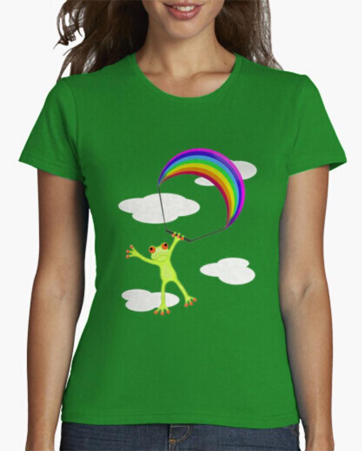 Camisetas Padre Guisante en Colores del Arcoíris. Camiseta Mujer de color verde. Camiseta Rana Froggy. Camisetas de ranas divertidas. Camiseta rana con parapante