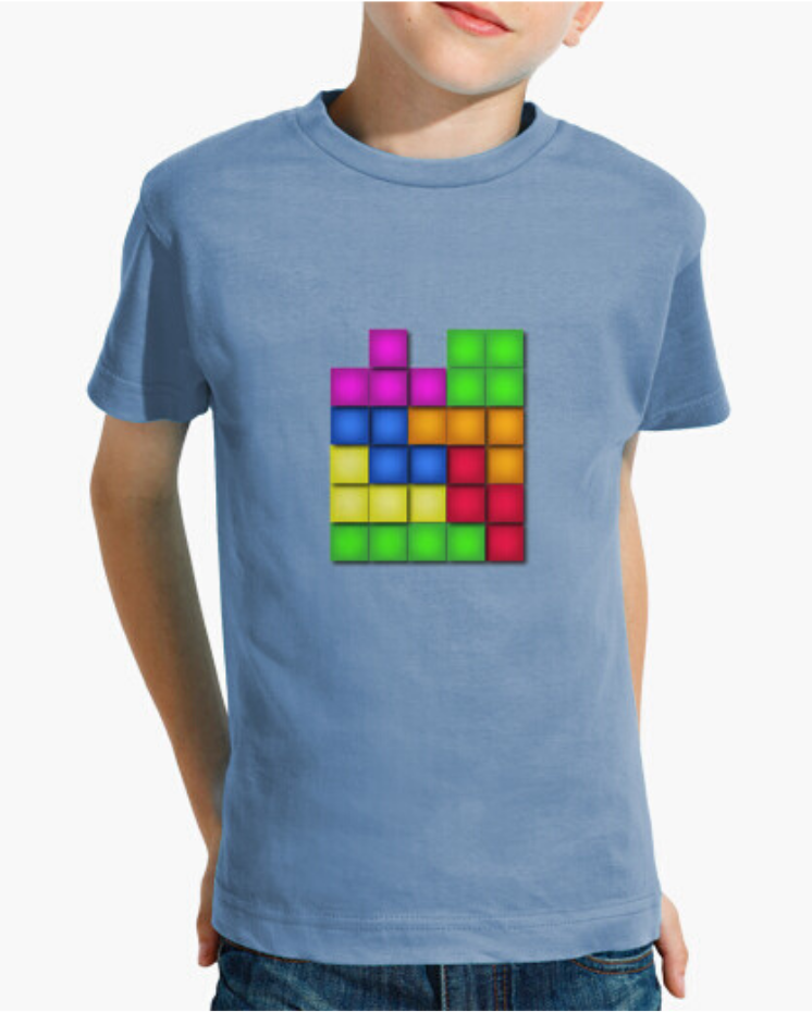 Camisetas Padre Guisante en Colores del Arcoíris. Camisea niño. Camiseta colección Tetris de colores