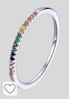 Mejores anillos mujer en Colores del Arcoíris. Qings Anillo apilable de Arco Iris de Moda Anillo de círculo de Plata esterlina 925 Pave Sparking CZ Regalo de cumpleaños para Mujeres