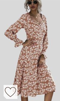Moda Otoño 2020 en Amazon y en Colores del Arcoíris. Vestido Floral De Manga Larga para Mujer Vestido De Moda De Longitud Media OtoñO Invierno 2020 Europa Y AméRica