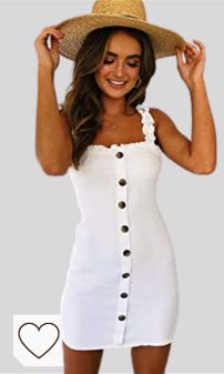 Vestidos Verano en Colores del Arcoíris. Overdose Women Summer V Neck Lace Short Sleeve Dress Blanco Todos los días Vacaciones Playa De Moda Vender Falda Corta