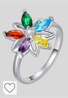 Mejores Anillos Mujer en Colores del Arcoíris. Anillo de plata de ley 925 con diseño de flor de la vida, color brillante, de moda, forma de flor, regalo de cumpleaños, regalo de San Valentín, regalo para mujeres, hermanas (talla O)
