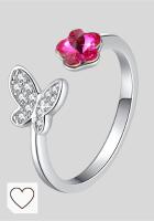 Mejores Anillos Mujer en Colores del Arcoíris. Anillo de moda con flor rosa y mariposa, ajustable, para dedo del pie, anillo con cristales de Swarovski, regalos únicos de joyas para mujeres y niñas