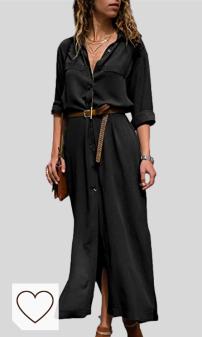 Moda Otoño Invierno 2020 para Mujer en Moda Amazon en Colores del Arcoíris Amazon. Mujer Vestidos Largos Casual Camiseros Manga Larga Botón Lateral De Hendidura Vestido De Fiesta