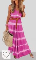 Mejores Vestidos Tie Dye Mujer en Colores del Arcoíris. kenoce Vestidos Largos Mujer Vestidos Playa Cuello en V Bohemia Estilo Estampados Florales con Bolsillos Vestido sin Mangas Vestido sin Espalda Sexy y Elegante