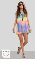 Mejores vestidos Tie Dye Mujer en Colores del Arcoíris. Romwe - Vestido - trapecio - Sin mangas - para mujer