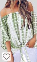 Mejores Blusas Tie Dye Mujer en Colores del Arcoíris. Manga 3/4 Mangas de la Trompeta Acampanada Acampanadas Bajo de Volante Volantes Escote Cuello Bardot Tie Dye Degradado de Color Blusón Blusa Camisa Top