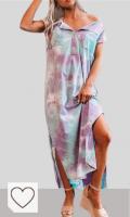 Mejores vestidos Tie Dye Mujer en Colores del Arcoíris. JXQ-N Vestido Casual de Mujer sin Mangas Tie-Dye Botones Rectos Lados Split Vestido Largo Suelto con Bolsillos