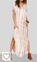 Vestidos Tie Dye en Colores del Arcoíris. Vestidos Mujer Casual Playa Largos Verano Tie Dye Vestido Boho Hendidura Falda Larga Maxi Vestido Playeros