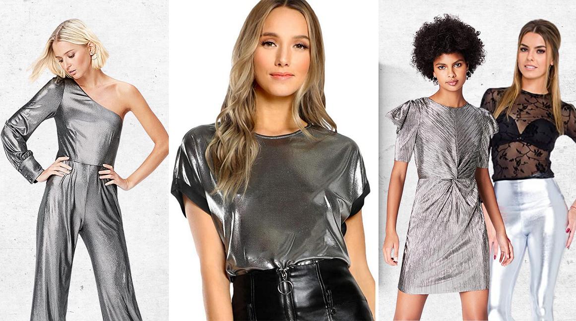 Tendencias Moda Mujer Otoño Invierno en Amazon. Vestidos, trajes y blusas mujer plateadas. Tendencia moda color plata temporada otoño invierno 2020