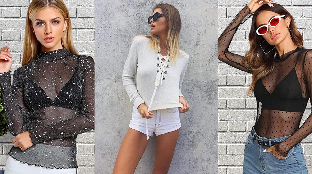 Tendencias Moda Otoño Invierno 2020 para mujer en Amazon Fashion. Crop Tops y blusas con transparencias