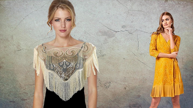 Tendencias de moda mujer otoño invierno 2020 en Amazon. Novedades de Amazon Moda. Vestidos con tiras y flecos