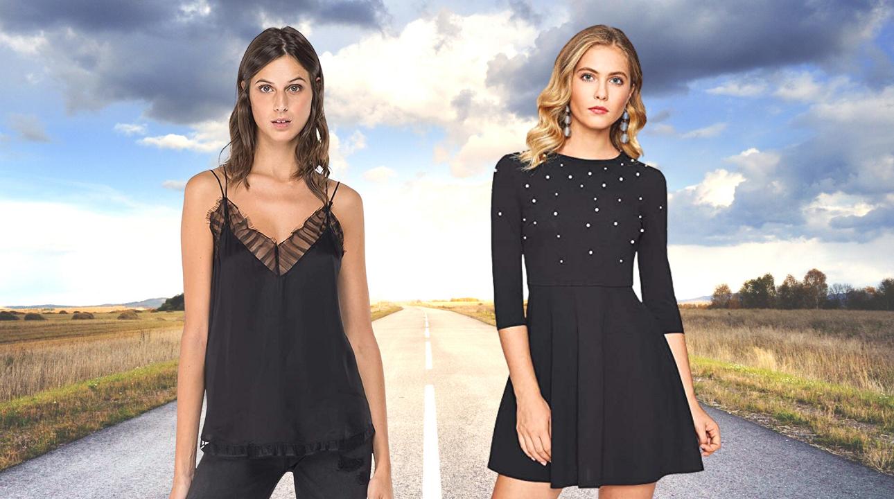 Tendencias Moda Mujer Otoño Invierno 2020.  Vestido negro mujer y blusa mujer encaje de color negro