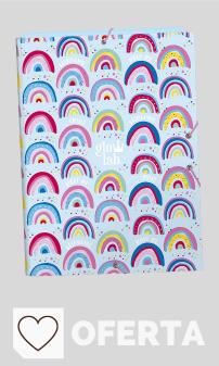 Mejores Carpetas Escolares en Colores del Arcoíris. Carpeta Folio con 3 Solapas de Glowlab, 260x365mm
