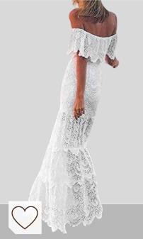 Mejores vestidos blancos moda verano 2020 en Colores del Arcoíris. Overdose Vestido Blanco para Damas Cóctel Noche de Fiesta Hombro frío Manga de Volantes Boda Novia Vestido Elegante Puro Encaje Calado Tubo Top Maxi Vestido