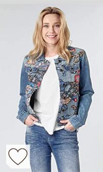 Moda Otoño 2020 Mujer en Amazon Fashion y en Colores del Arcoíris. Desigual Chaqueta Brooklyn Azul para Mujer. Chaqueta tejana flores moda denim chaqueta de flores