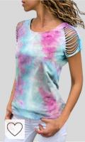 Mejores Camisetas Mujer Tie Dye en Colores del Arcoíris. SMILEQ Mujeres Tops Moda O-Cuello Recortable Manga Tie-Dye Imprimir Camiseta de Manga Corta de algodón Blusa Informal