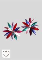 Mejores pendientes en Amazon para Mujer en Colores del Arcoíris. Pendientes Cristales Colores Mujer Fiesta Boda Pendientes Elegantes con Forma de Flor y Dorso Chapado Plata y Oro, Varios Colores