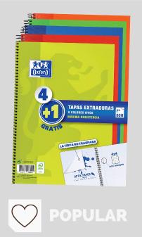 Mejores Libretas Escolares en Amazon y en Colores del Arcoíris. Oxford - Pack de 5 cuadernos (tapa extradura, 80 hojas, cuadrícula 4x4 con margen) Lima/Rojo/Naranja/Verde/Azul Marino