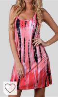 Vestidos Tie Dye Mujer en Colores del Arcoíris. Vestido sin mangas para mujer con espalda cruzada, sin mangas, estilo casual
