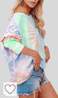 Mejores Camisetas Mujer Tie Dye en Colores del Arcoíris. Camisetas Tie Dye Mujer. Imily Bela - Camiseta de manga larga para mujer, sin hombros, degradado, estampada, multicolor