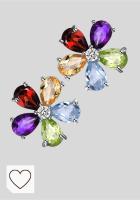 Mejores pendientes en Amazon para mujer en colores del Arcoíris. JewelryPalace Flor de las mujeres 4.3ct Multicolor Natural Amatista Citrine Garnet Peridot Blue Topaz Stud Pendientes Plata de ley 925